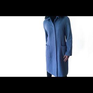 GAP Blue Long Lined Nylon Wool Coat